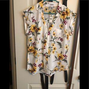 Express floral zip shirt